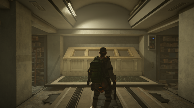 A screenshot of Tom Clancy's Division 2 that depicts the underground safe storage for the US founding documents.