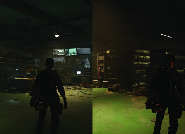 A screenshot of Tom Clancy's Division 2 that depicts two sides of The Archives safehouse. One side shows computer equipment, while the other shows film collection storage.